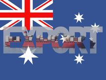 Container ship with export text and Australia flag illustration. Container ship with export text and Australia flag abstract background illustration Royalty Free Stock Photography