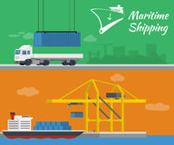 Container ship at freight port terminal. Truck delivery of container. Maritime shipping - vector banner. Container ship at freight port terminal. Truck delivery Royalty Free Stock Images