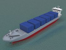 Container ship. Container freight ship on water Royalty Free Stock Photo
