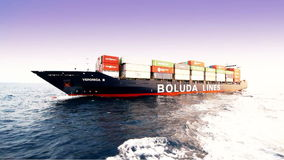 Container ship full charged