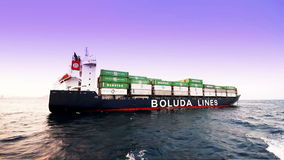Container ship full charged stock video