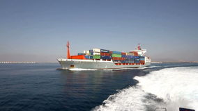 Container ship full charged stock footage