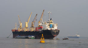 Container ship gets into Saigon Port Royalty Free Stock Photography