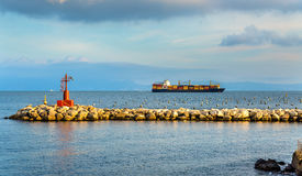Container ship in the Gulf of Naples Stock Photo