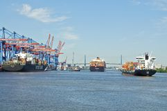 Container ship in Hamburg Royalty Free Stock Images