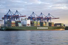 Container ship in Hamburg Royalty Free Stock Photography