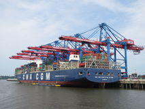 Hamburg, Germany. Elbe. Container ship. Container ship in hamburg, germany Stock Images