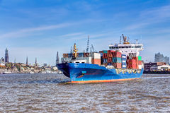 Container ship in Hamburg Royalty Free Stock Photos