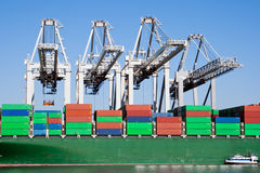 Container ship in the harbor royalty free stock photography