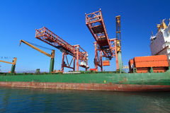 Container ship in harbor Royalty Free Stock Photo