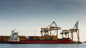 Container ship in harbor Royalty Free Stock Images