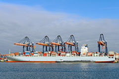 Container ship in harbor Stock Photos
