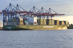 Container ship in the harbor Hamburg Royalty Free Stock Images