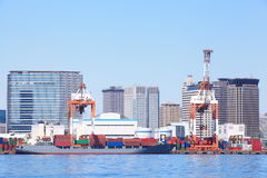 Container ship in the harbor Stock Photo
