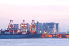 Container ship in the harbor Stock Photography