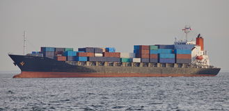 Container ship in the harbor Stock Photos