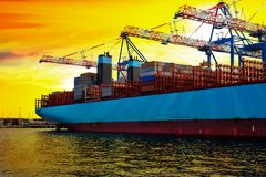 Container ship in harbor stock photo