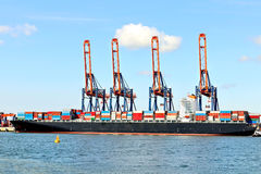 Container ship in harbor of rotterdam Stock Image