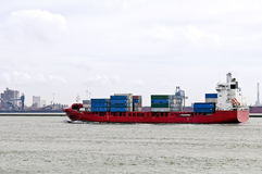 Container ship in harbor of rotterdam Royalty Free Stock Photography