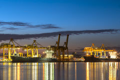 Container ship in the harbor of rotterdam netherlands Royalty Free Stock Images