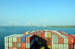 Container ship approaching to the Arthur Ravenel Jr. Bridge in Charleston, South Caroline. royalty free stock photo