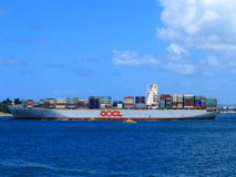 Container ship on ocean Royalty Free Stock Photography