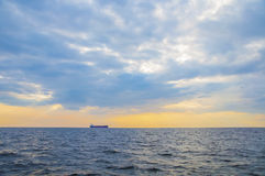 Container ship on the horizon Royalty Free Stock Photo