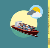 Container Ship Illustration Clouds on the sky Royalty Free Stock Image