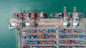 Container,container ship in import export and business logistic,. By crane,Trade Port , Shipping,cargo to harbor.Aerial view,Water transport,International,Shell Royalty Free Stock Photos