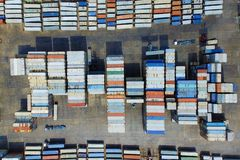 Container ship in import export and business logistic,Top view.  Stock Images