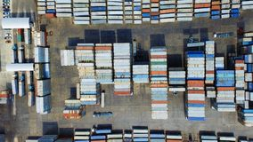 Container ship in import export and business logistic,Top view.  Stock Photos
