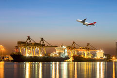 Container ship in import,export port against beautiful morning l stock images