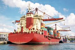 Container Ship In Port Stock Image