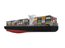 Container ship isolated back view Royalty Free Stock Images