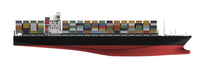 Container ship isolated front view. Isolated container ship over white vector illustration