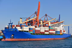 Container ship at Istanbul port. Royalty Free Stock Photography
