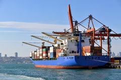 Container ship at Istanbul port. Stock Photography