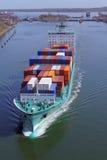 Container ship on Kiel Canal Royalty Free Stock Photos