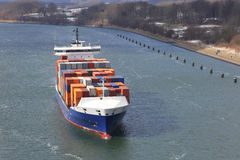 Container ship on Kiel Canal Stock Image
