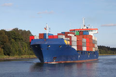 Container ship on Kiel Canal Stock Photo