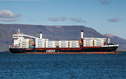 Container Ship. Lagarfoss, Eimskip ltd new container ship arriving in port in Reykjavik, Iceland, for the very first time Stock Image