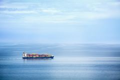 Container Ship. Large container ship in the open sea Royalty Free Stock Photography