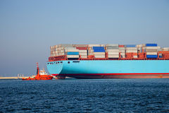 Container ship leaves the port. Gdansk, Poland. Stock Photography