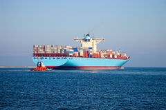 Container ship leaves the port. Gdansk, Poland. Royalty Free Stock Photography