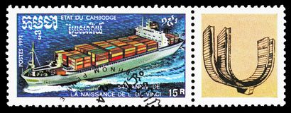 Container ship, Leonardo da Vinci serie, circa 1992. MOSCOW, RUSSIA - OCTOBER 6, 2018: A stamp printed in Kampuchea (Cambodia) shows Container ship, Leonardo da royalty free stock photography