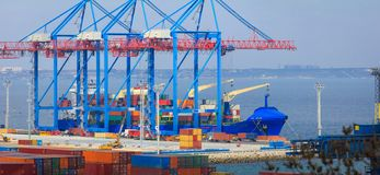 Container Ship is loading in a sea port Odessa. royalty free stock photography