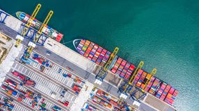Container ship loading and unloading in deep sea port, Aerial top view of business logistic import and  export freight