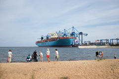 Container ship Maersk Mc-Kinney Moller in Gdansk Poland. Stock Image
