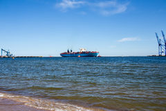 Container ship Maersk Mc-Kinney Moller in Gdansk Poland. Royalty Free Stock Photos