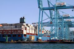 Container ship Maersk Sarat working with containers cranes. Stock Image
